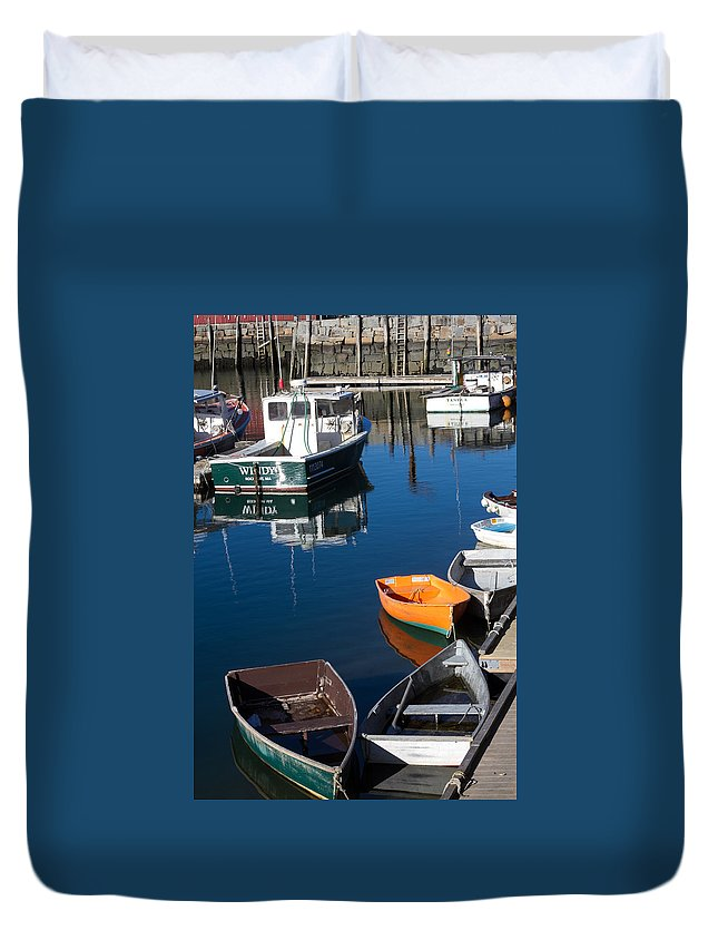 Rockport Ma Duvet Cover featuring the photograph Fishing Boats, Rockport, Ma by Nicole Freedman