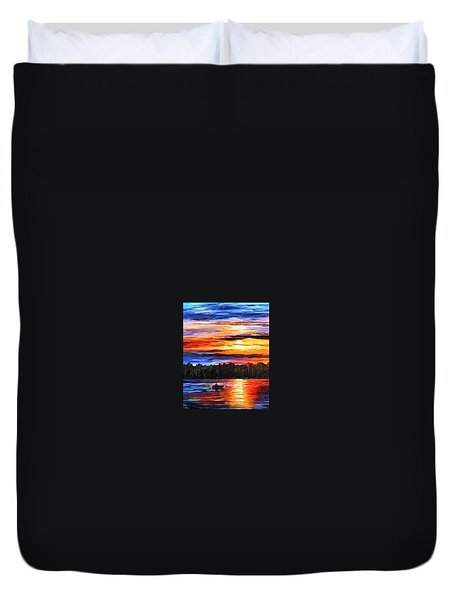 Seascape Duvet Cover featuring the painting Fishing By The Sunset by Leonid Afremov