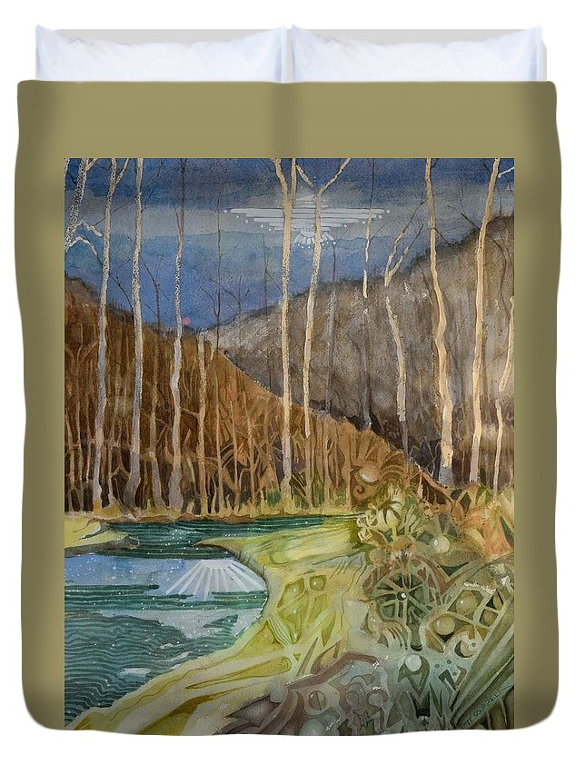 Landscapes Duvet Cover featuring the painting Fishing Creek by TL Sourbeer