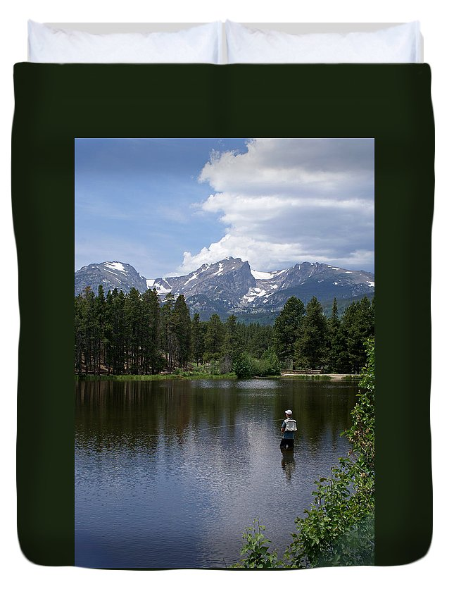 Fishing Duvet Cover featuring the photograph Fishing In Colorado by Heather Coen