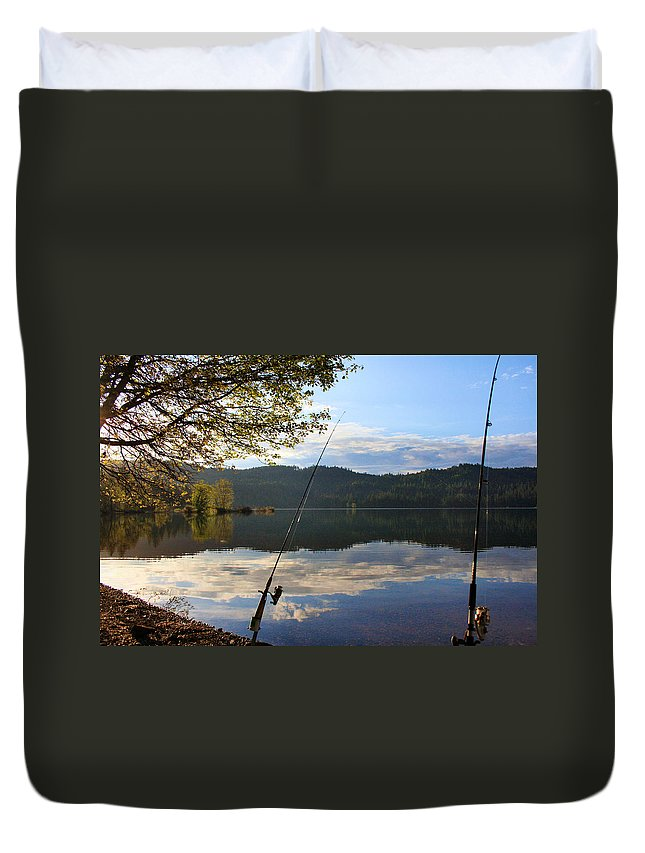 Fishing Duvet Cover featuring the photograph Fishing In Early Morning by Sally Bauer