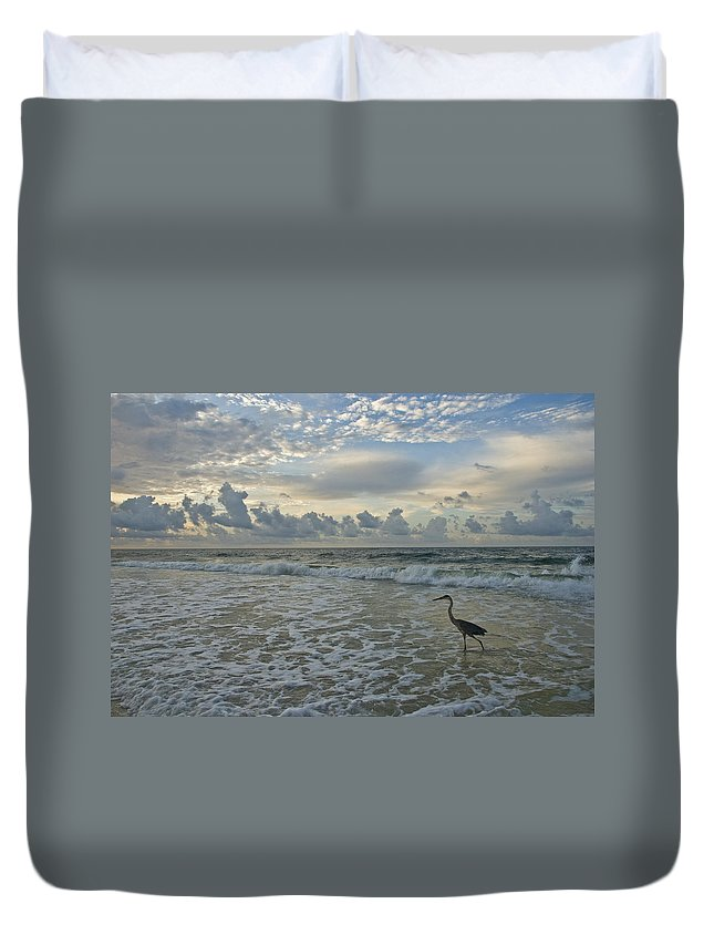Blue Heron Duvet Cover featuring the photograph Fishing In The Morning by Jennifer Kelly