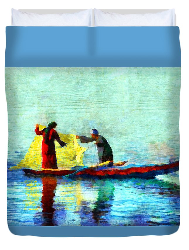 Fishing In The Nile Duvet Cover featuring the painting Fishing In The Nile by George Rossidis