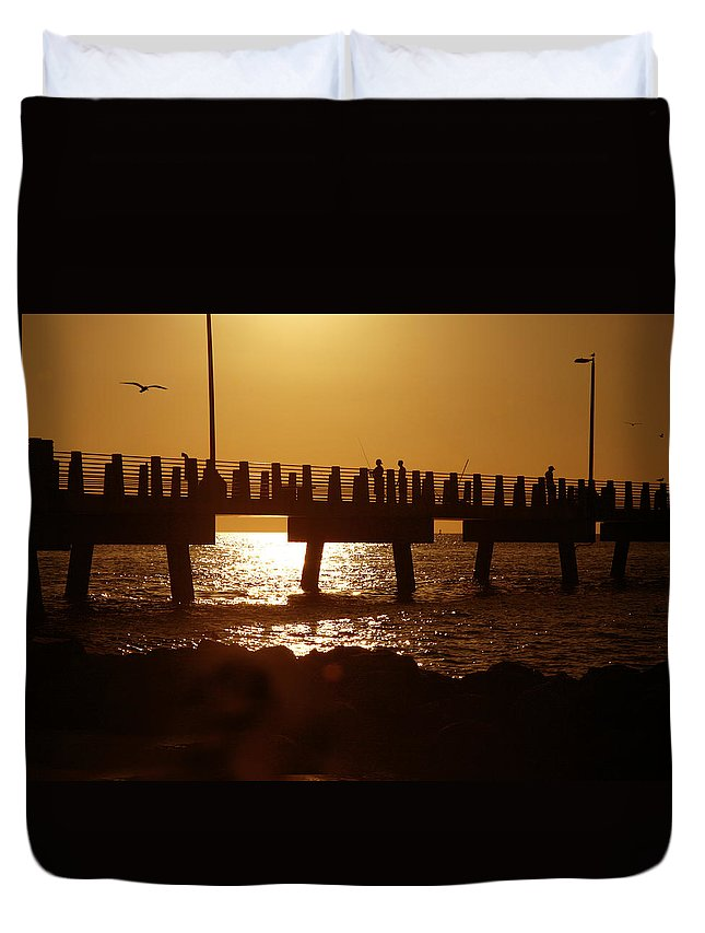 Fort De Soto Duvet Cover featuring the photograph Fishing Off The Pier At Fort De Soto At Dusk by Mal Bray