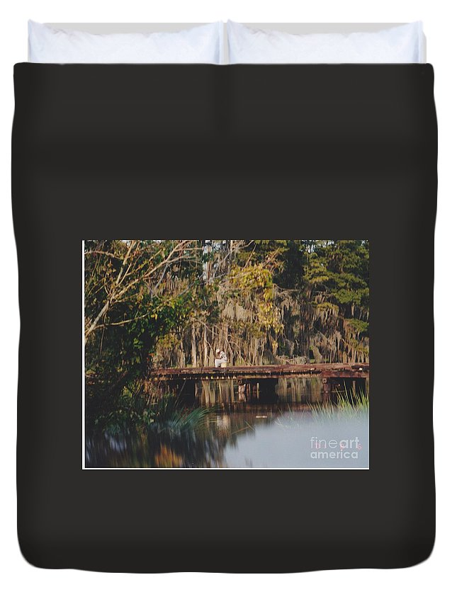 Landscape Duvet Cover featuring the photograph Fishing On The Bridge by Michelle Powell