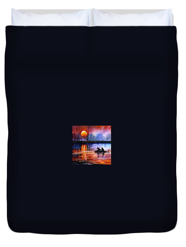 Seascape Duvet Cover featuring the painting Fishing On The Lake by Leonid Afremov