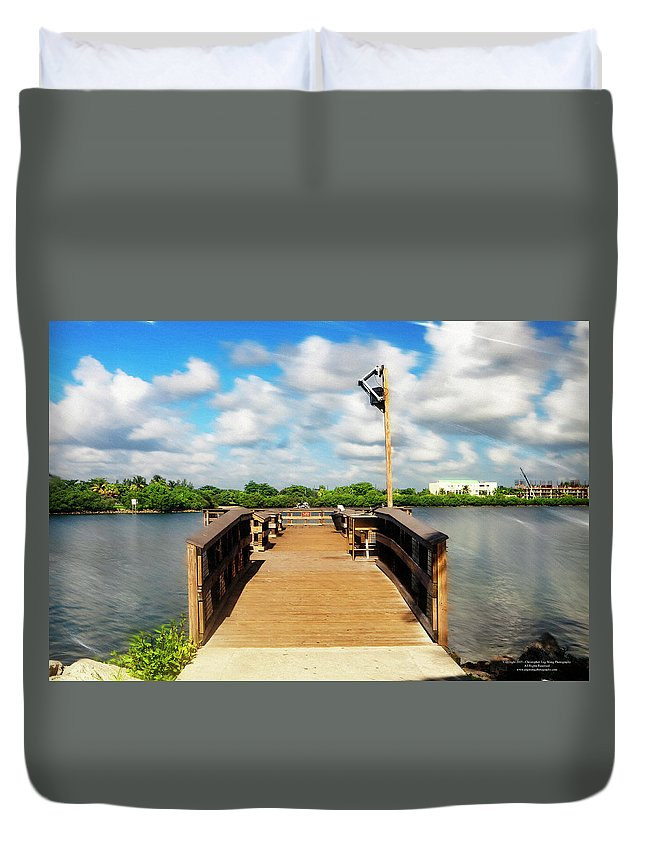 America Duvet Cover featuring the digital art Fishing Pier by Christopher Eng-Wong