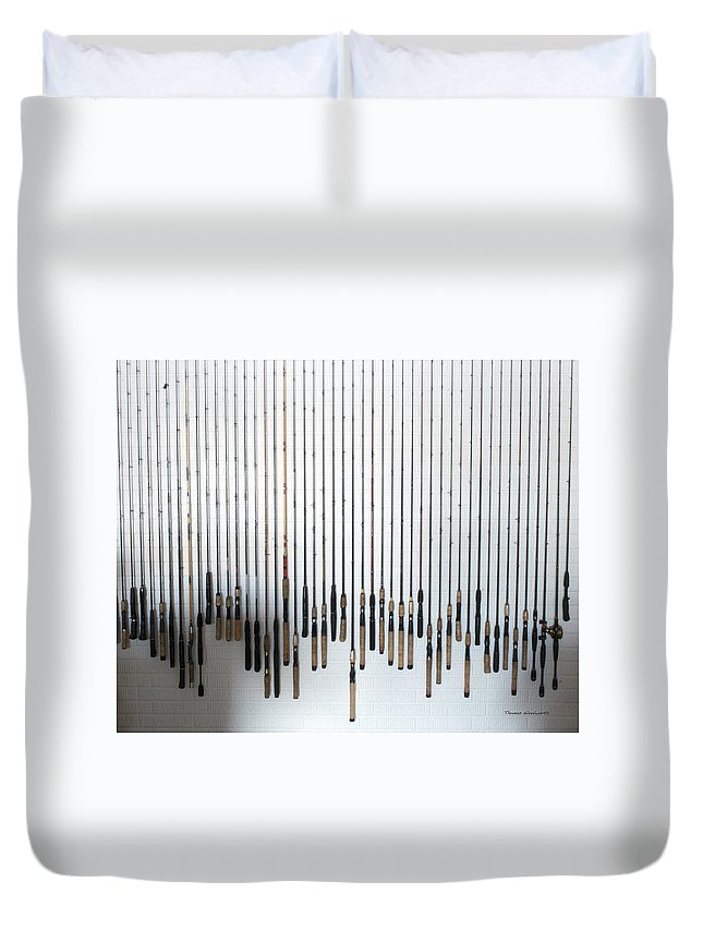 Fishing Poles Duvet Cover featuring the photograph Fishing Poles by Thomas Woolworth