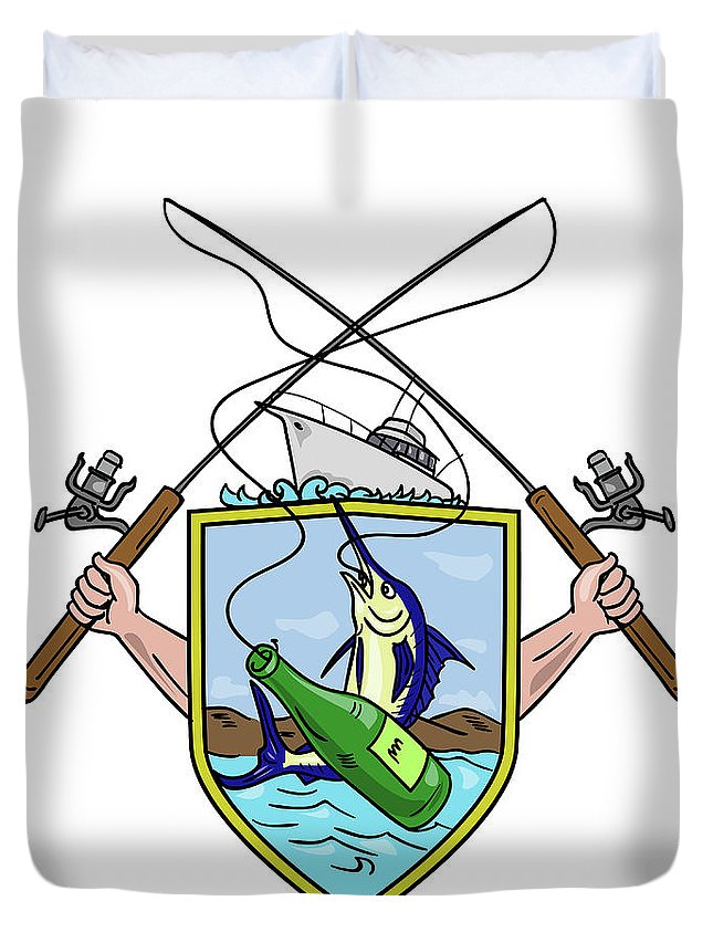 Drawing Duvet Cover featuring the digital art Fishing Rod Reel Blue Marlin Beer Bottle Coat Of Arms Drawing by Aloysius Patrimonio