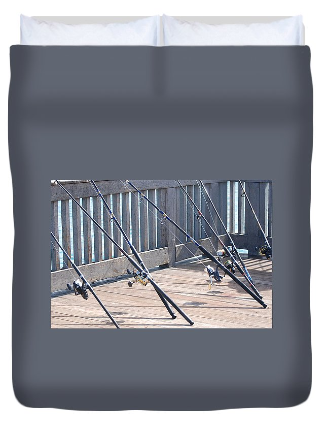 Pier Duvet Cover featuring the photograph Fishing Rods by Rob Hans