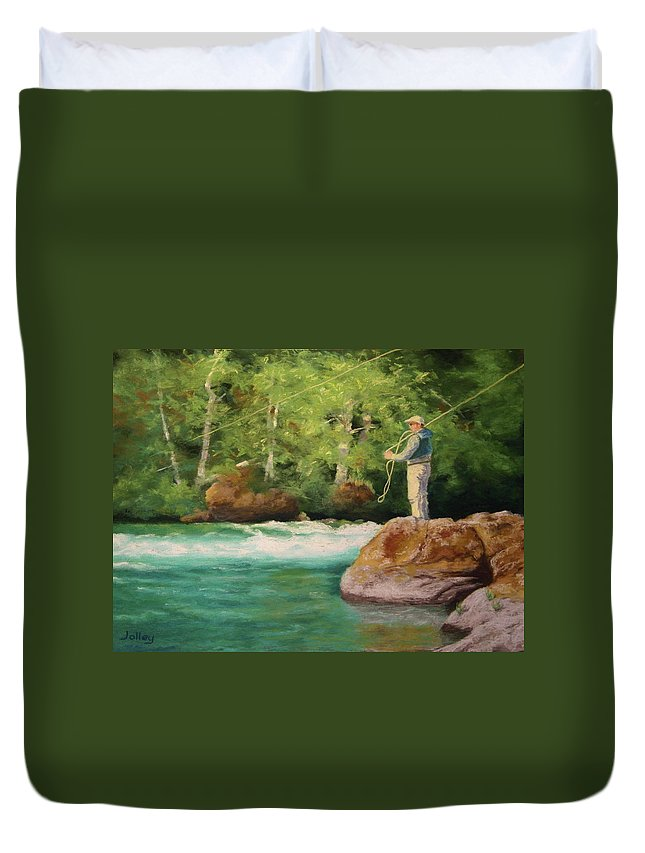 People Duvet Cover featuring the painting Fishing The Umpqua by Nancy Jolley