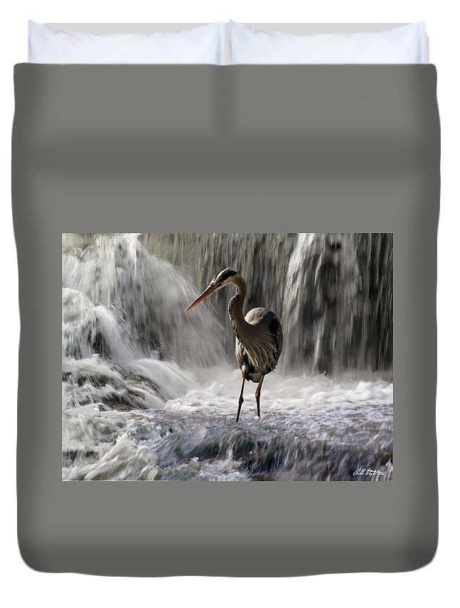 Waterfalls Duvet Cover featuring the photograph Fishing Time by Bill Stephens