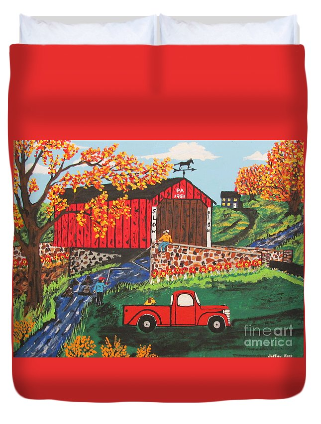 Country Art Duvet Cover featuring the painting Fishing Under The Covered Bridge by Jeffrey Koss