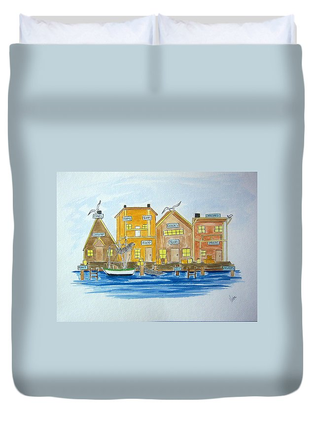 Fishing Duvet Cover featuring the painting Fishing Village 2 by Nancy Nuce