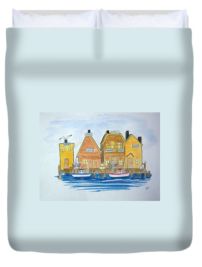 Fishing Duvet Cover featuring the painting Fishing Village 3 by Nancy Nuce