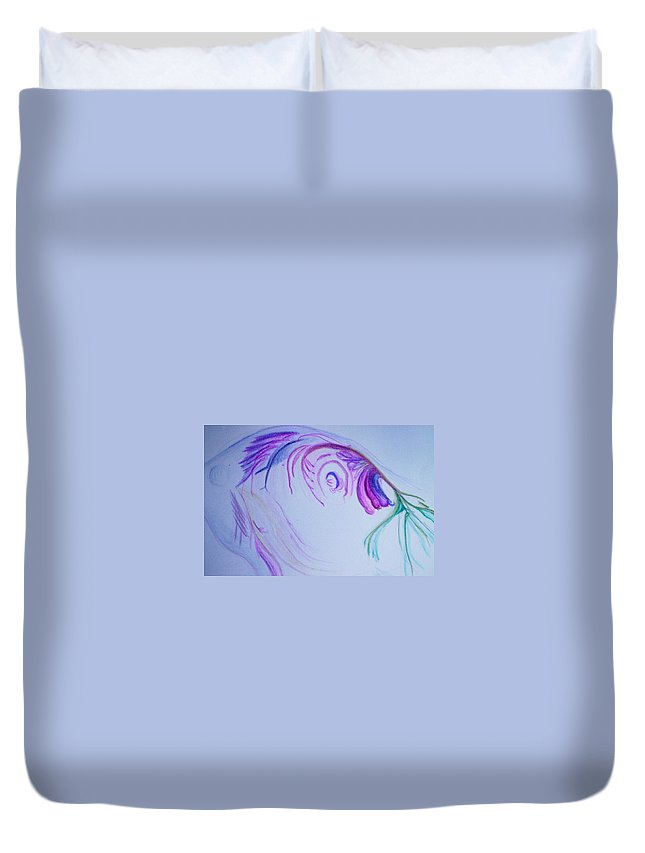 Abstract Painting Duvet Cover featuring the painting Fishy by Suzanne Udell Levinger