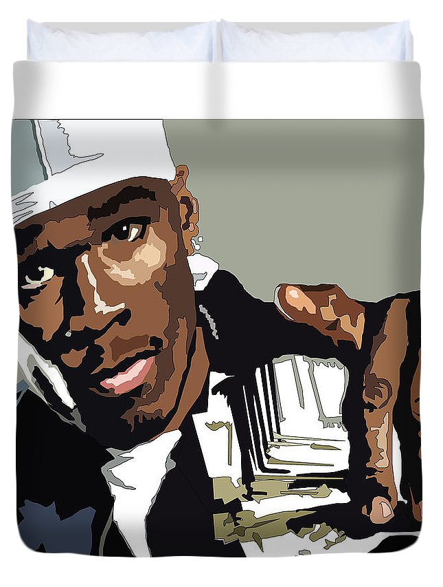 Fity Cent Duvet Cover featuring the digital art Fity Cent With Cash by Matt Danger