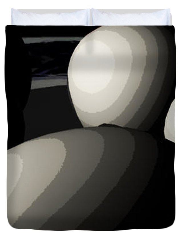 Eggs Duvet Cover featuring the digital art Five Eggs by James Barnes