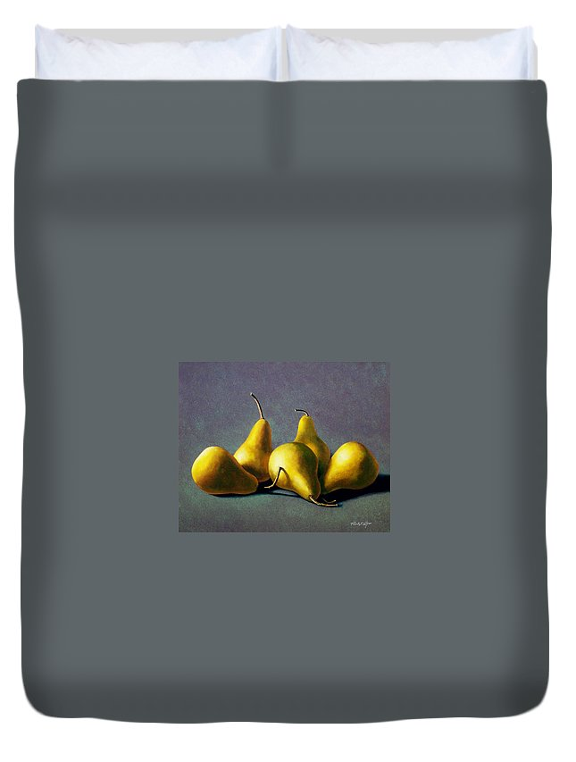 Still Life Duvet Cover featuring the painting Five Golden pears by Frank Wilson