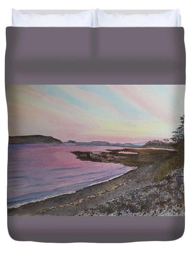 Five Islands Duvet Cover featuring the painting Five Islands - Draft IIi by Joel Deutsch