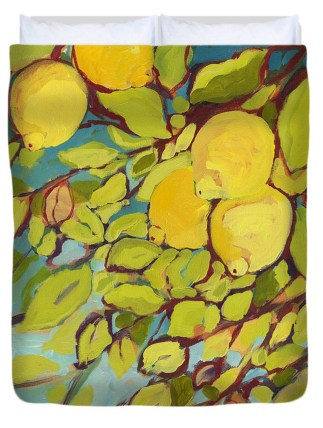 Lemon Duvet Cover featuring the painting Five Lemons by Jennifer Lommers