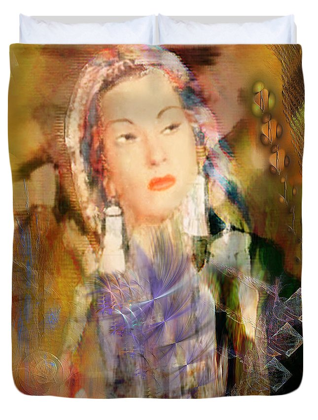 Duvet Cover featuring the digital art Five Octaves - Tribute To Yma Sumac by John Beck