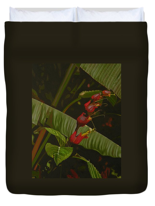 Floral Duvet Cover featuring the painting Five Red by Thu Nguyen