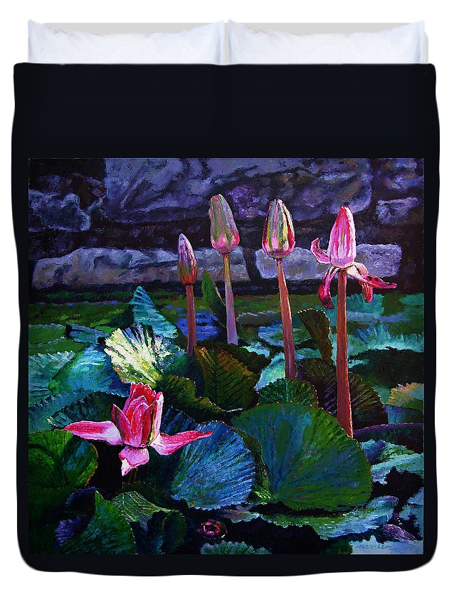 Water Lilies Duvet Cover featuring the painting Five Stages To Beauty by John Lautermilch