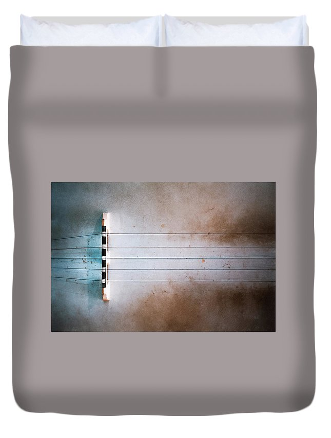 Strings Duvet Cover featuring the photograph Five String Banjo by Scott Norris