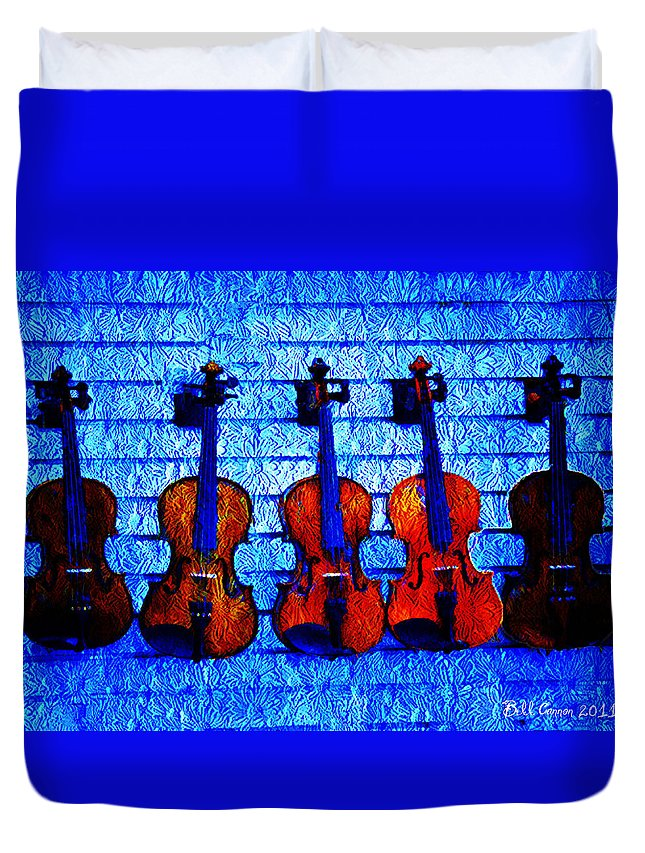 Fiddle Duvet Cover featuring the photograph Five Violins by Bill Cannon