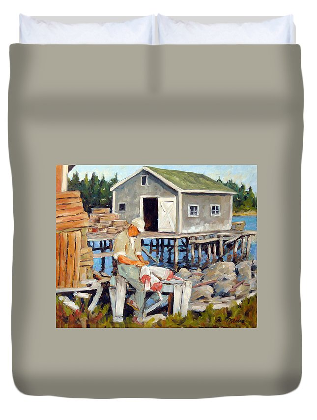 Fishing Boats Duvet Cover featuring the painting Fixing Floats by Richard T Pranke