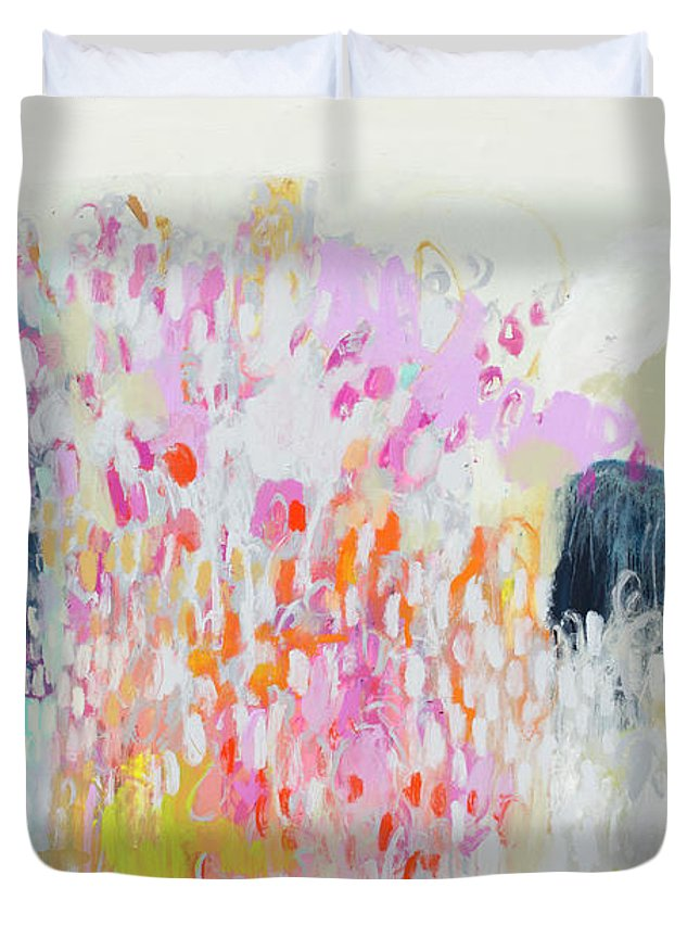 Abstract Duvet Cover featuring the painting Fizz by Claire Desjardins