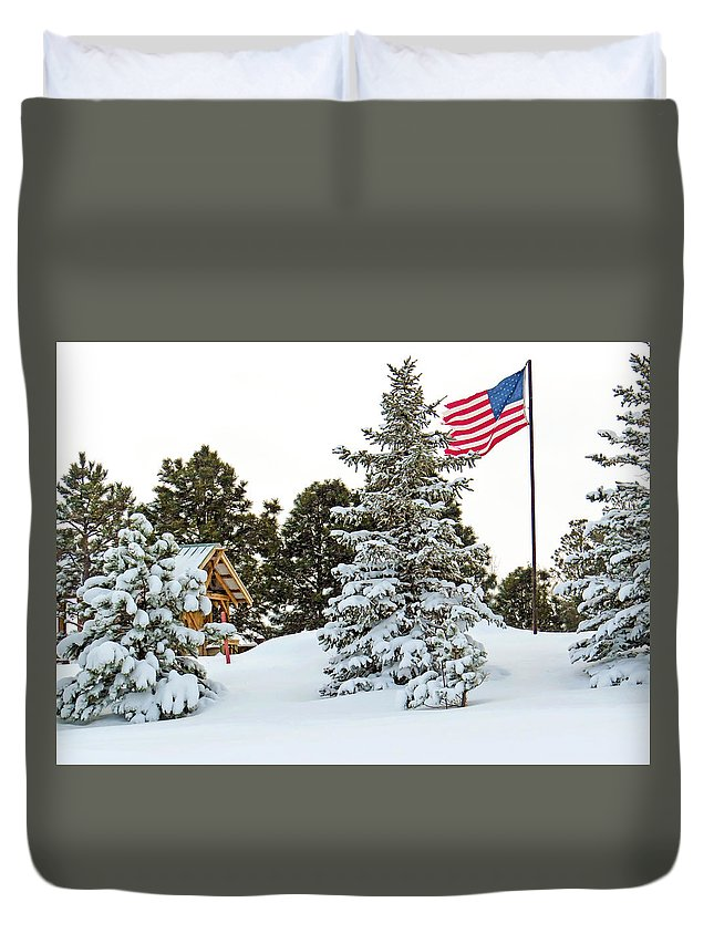 American Flag Duvet Cover featuring the photograph Flag And Snowy Pines by Dawn Key