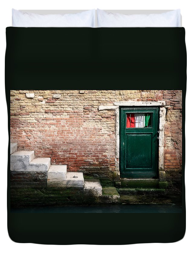 Venetian Steps Duvet Cover featuring the photograph Flag by Dave Bowman
