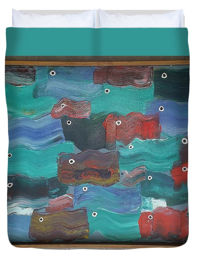 Water Duvet Cover featuring the painting Flag Fish by Peter Nervo