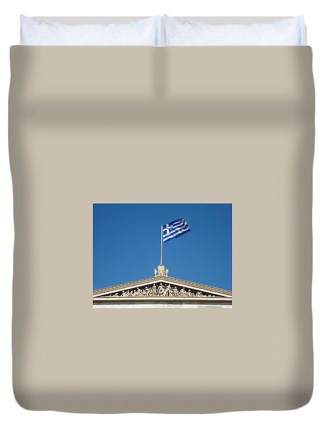 Greece Duvet Cover featuring the photograph Flag Of Greece by Aleks Findikian