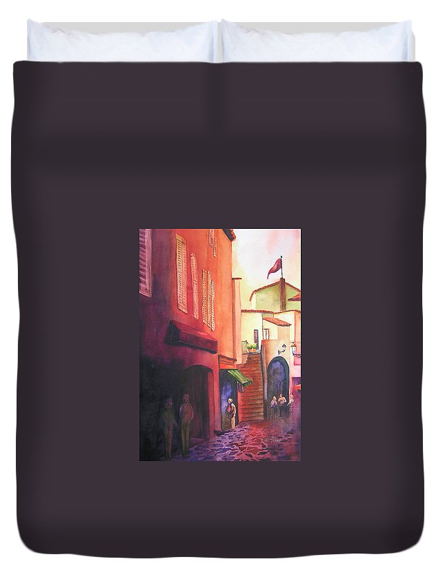 Europe Duvet Cover featuring the painting Flag Over St. Tropez by Karen Stark