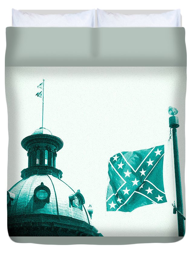 Confederate Flag Duvet Cover featuring the photograph Flag8320sd5143grain by Joseph C Hinson Photography