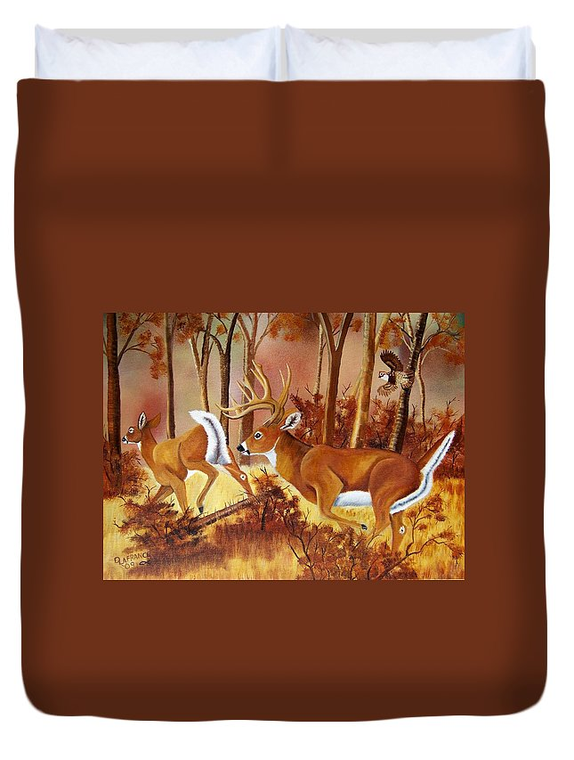 Deer Duvet Cover featuring the painting Flagging Deer by Debbie LaFrance