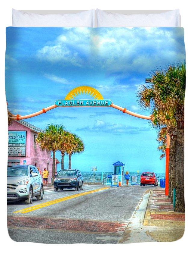 Beach Duvet Cover featuring the photograph Flagler Avenue by Debbi Granruth