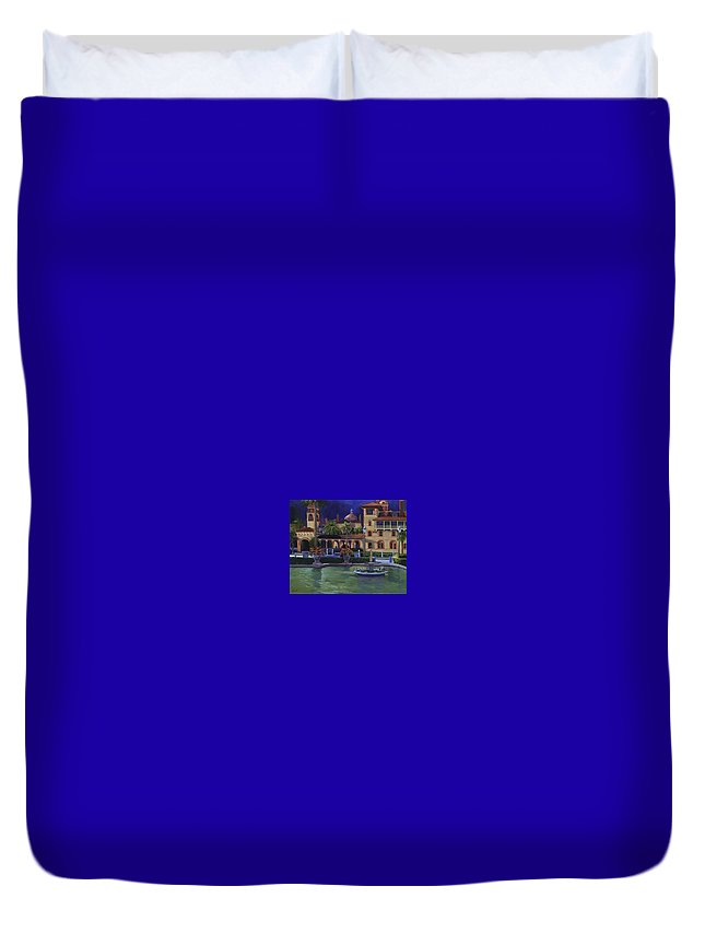 St. Augustine\'s Flagler College Campus Duvet Cover featuring the painting Flagler College II by Christine Cousart
