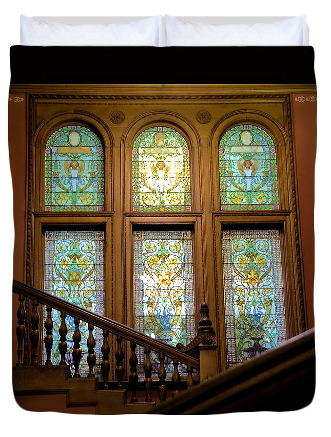 Colleges Duvet Cover featuring the photograph Flagler College Stained Glass by Larry Jones