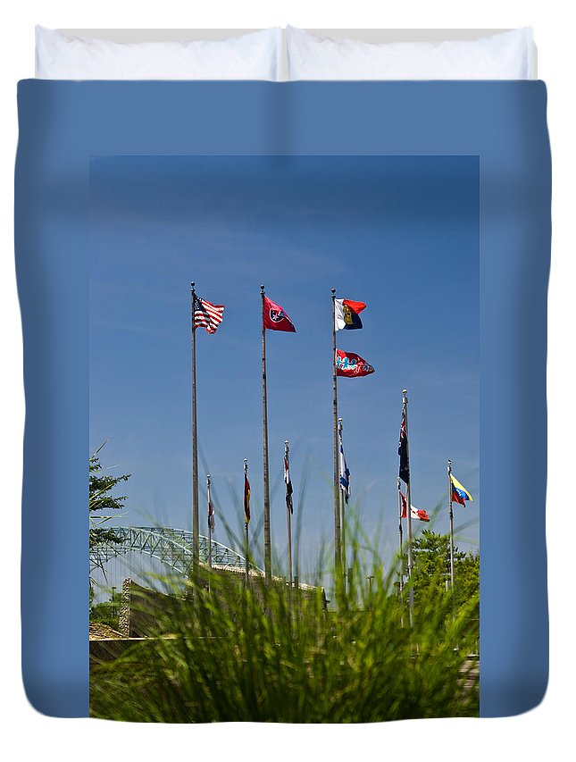 Flags Duvet Cover featuring the photograph Flags Flags Flags by Douglas Barnett
