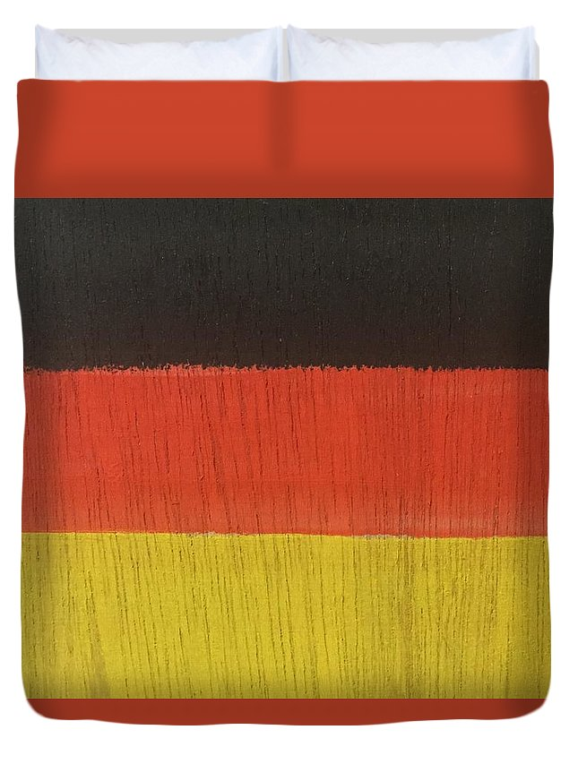 Acrylic Painting On Wood Duvet Cover featuring the painting Flags Of The World - Germany 15-r12 by Virginia Margarita