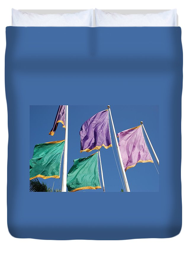 Flags Duvet Cover featuring the photograph Flags by Rob Hans
