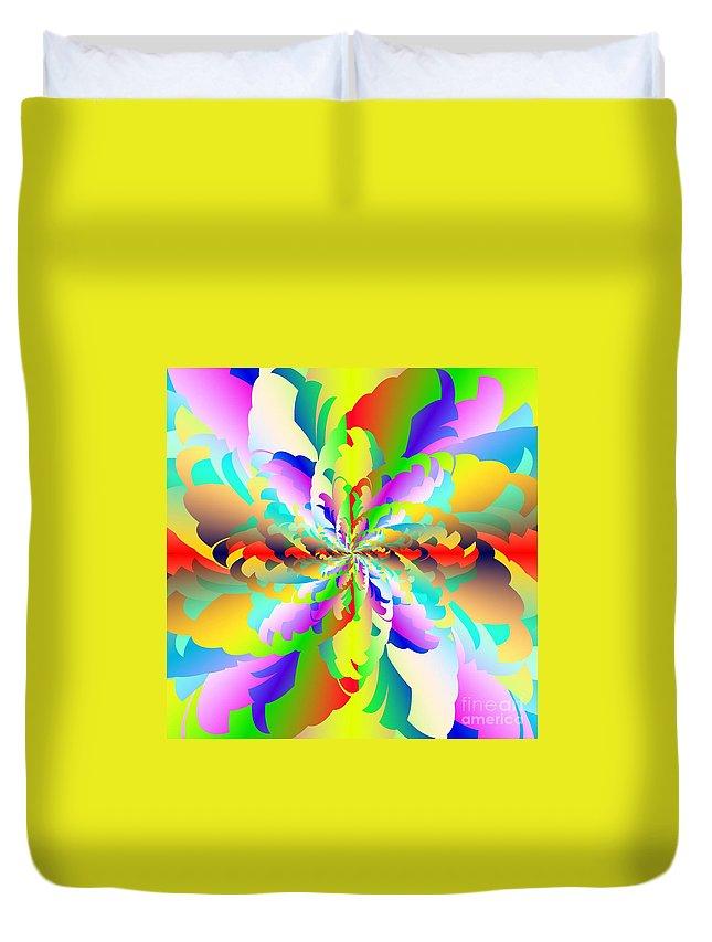 Flamboyant Fractal Fire Flower Duvet Cover featuring the digital art Flamboyant Fractal Fire Flower by Michael Skinner