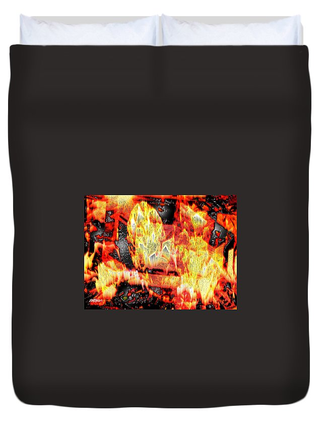Abstract Duvet Cover featuring the photograph Flame Gems by Seth Weaver