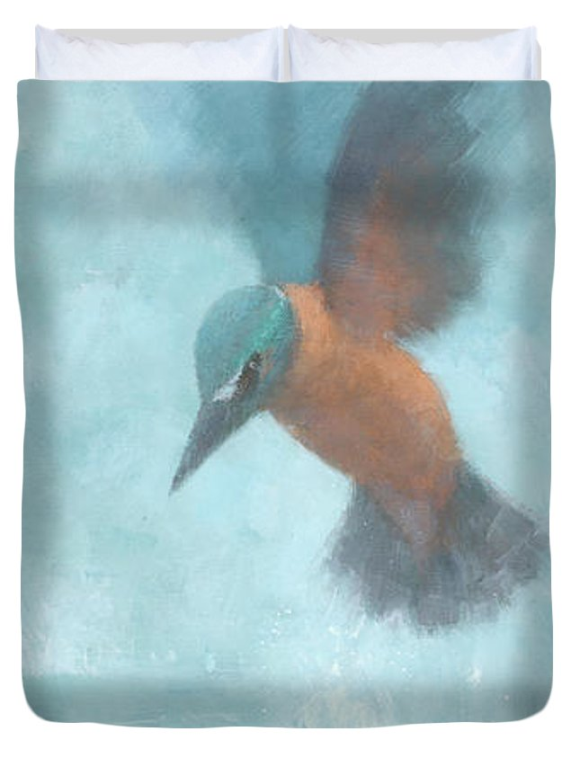 Blue Duvet Cover featuring the painting Flame In The Mist by Steve Mitchell