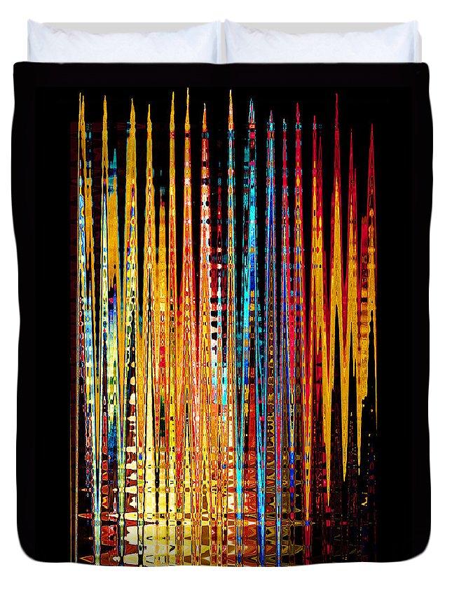 Lines Colors Flames Pattern Design Cross Crosshatch Plaid Duvet Cover featuring the digital art Flame Lines by Francesa Miller