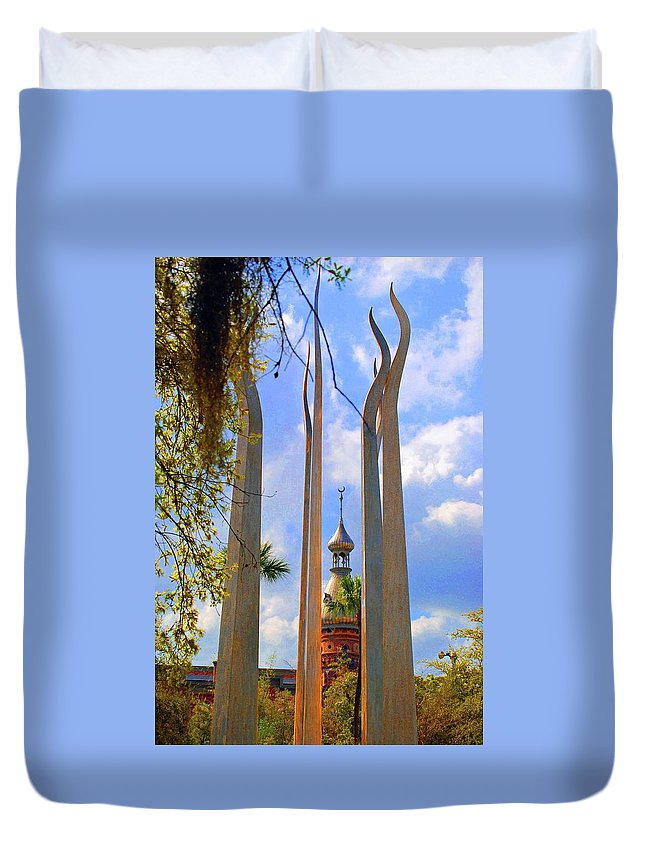 University Of Tampa Duvet Cover featuring the photograph flame of the Sky by Jost Houk